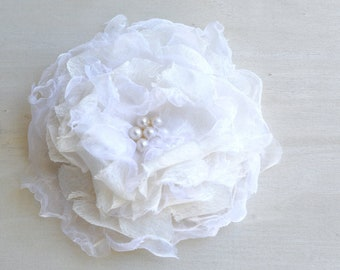 Millinery Flowers, Cream Wedding Flower, Cream And Pearls Sew On Flower, Baby Headband Flower, Flower Girl Hair Decor, Wedding Accessory