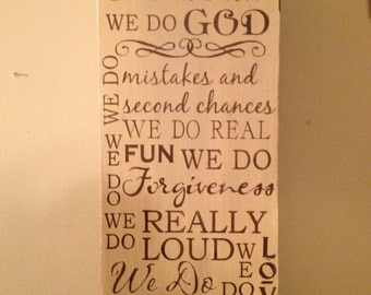 Subway wood sign,  In Our Home We Do, Family Rules, 12 x 24 , with a Distressed Finish