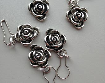 Set of Convertible Knitting and Crochet Stitch Markers in Pewter English Rose