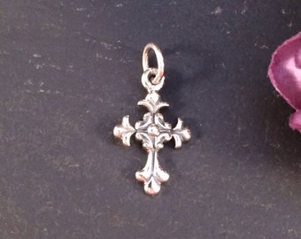 Cross Charm, Sterling Silver Cross Charm, Fancy Cross Charm, Religious Charm, Religious Pendant, Christian Charm, Christian Pendant