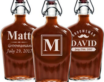 Groomsmen Flask Gifts, Personalized Glass Flask, Groomsmen gift, Personalized Flask, Engraved Flask, Hip Flask, Custom Flask
