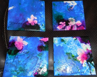 Melodie's Art Studio 4x4 Alcohol Ink Ceramic Coasters with Cork
