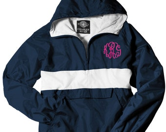 Monogrammed Striped Personalized Half Zip Rain Jacket Pullover  | Multiple Colors