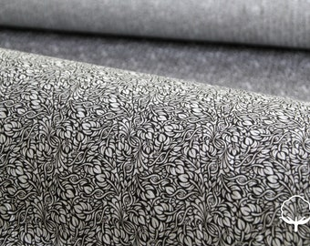 Printed cotton fabric, branches and leaves, grey and black