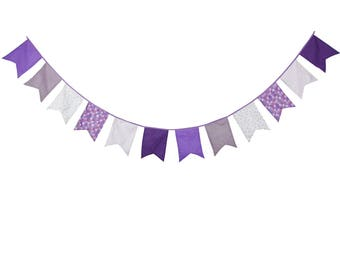 12  flags Wedding Bunting Birthday Banner Purple Party Decoration Wedding Decoration Photo Prop Cotton Fabric Garland Vintage Room Decor