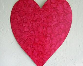 Metal wall art heart sculpture decor deep red heart Valentine reclaimed metal wall hanging wedding anniversary 11 x 12