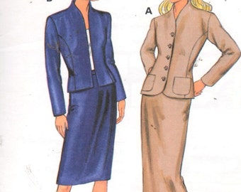 """Kwik Sew 2713, Sz 8-22/XS-L/Bust 31.5-45"""".  Ladies Suit pattern, Unlined Princess Seam Jacket and Straight/Pencil skirt in 2 lengths."""