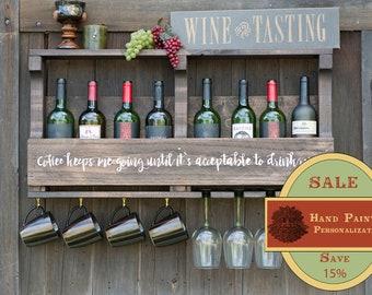 Spring Sale- Coffe Bar, Wine Rack, Wall Mounted, Coffee Mug Rack, Rustic Wine Rack, Coffee Wine Rack, Personalized Wine Rack, Wedding Gift