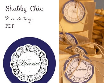 """Shabby Chic 2"""" circle labels - editable PDF - add your own text"""