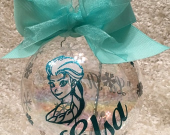 "Custom Hand decorated Disney inspired FROZEN Elsa Ornament ""Let it Go"" Christmas Ornament 4"" Glass"