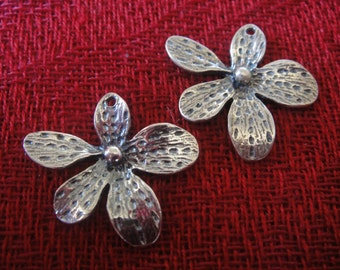 925 sterling silver oxidized orchid charm 1 pc., orchid flower, silver orchid