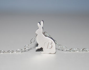 Hop. Initial necklace, Bunny initial necklace, Easter necklace, personalized necklace, Rabbit necklace