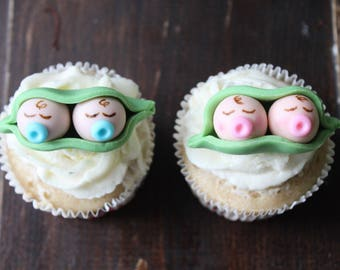 Two Peas In a Pod Fondant Cupcake Toppers 12 pcs
