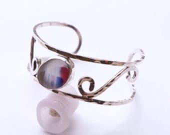 Rainbow sea glass sterling silver cuff bracelet