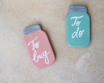 Mason jar magnets - To do list magnet - To buy list fridge magnets - Set 2 magnets refrigerator magnets - Mason jar kitchen decor -Gift idea