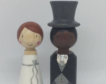 Personalized Cone Dolls Bridal couple/Peg doll cake topper