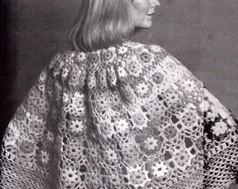 Vintage crochet cape capelet Crochet Pattern crochetable motifs shawl capelette  PDF 835 from WonkyZebra