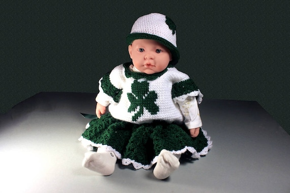 Crochet, St. Patricks Day Baby Outfit, Baby Shamrock Set, Baby Dress and Hat, Baby Clothing, Newborn to 3 Months, Baby Gift Set