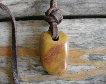 Sunset Jasper Touch Stone Smoothie with Celtic Button Knot in Leather -- Necklace --