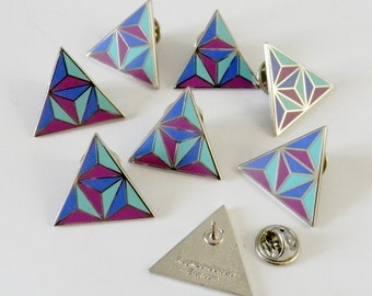 Blue and Purple Geometric Triangle Enamel Lapel Pin - Ready to Ship