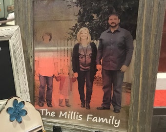 Wooden Window Frame w/ Imprinted Picture