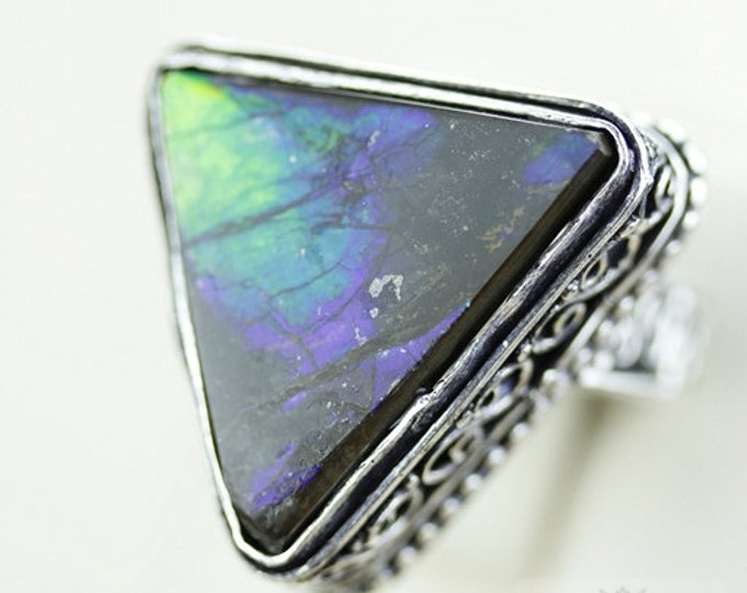 Size 10 VINTAGE Style GENUINE CANADIAN Ammolite (Nickel Free) 925 Fine S0LID Sterling Silver Ring & Free Worldwide Express Shipping r1663