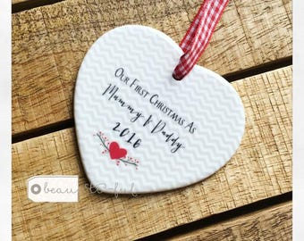 Our First Christmas as Mummy & Daddy Ceramic Heart with Heart and Chevron Detail - Christmas Gift - Tree Decoration - Keepsake