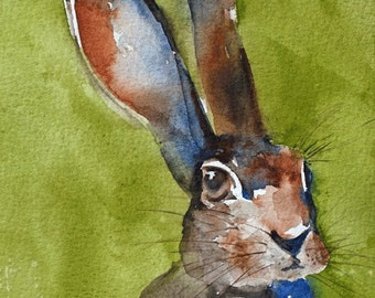 Nursery decor Bunny Art PRINT Bunny Watercolor PRINT children wall art animal print original watercolor bunny painting green blue brown