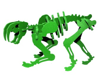 Dinosaur Puzzle, Dinosaur Toy, MINIATURE 3D Dinosaur Skeleton Puzzle, Recyclable PVC Smilodon, GREEN, Saber Tooth Tiger Toy