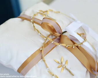 Stefana Pillow and 2 Boutonnieres Gold Plated leafs with Freshwater pearls - Greek Orthodox Wedding SET Stefana with olive leaves