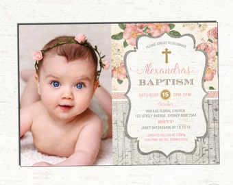 Girl baptism invitation pink gold christening printable girl baptism invitation floral christening photo invitation pink and gold cottage chic invite stopboris Image collections