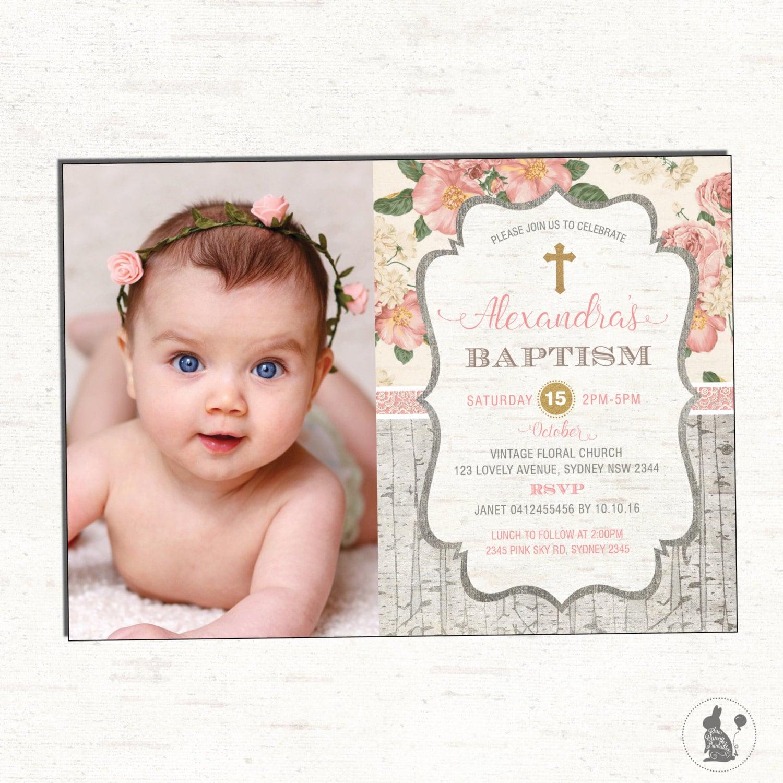 First Birthday And Baptism Invitations 1st Birthday And: Girl Baptism Invitation. Floral Christening Photo Invitation