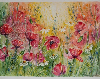 Poppy painting etsy poppy watercolor flowers painting wedding gift art red poppy painting watercolor flowers free shipping original watercolor painting mightylinksfo