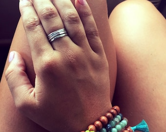 Sterling Silver Stacking Rings, Stacked Rings, Layered Jewelry, Bohemian, Boho