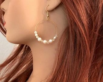 Pearl Earrings: Swarovski Pearls and Swarovski Crystals with Gold Hoop