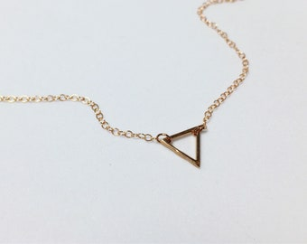 """Rose Gold Geometric Small Triangle Layering Necklace • 16"""" or 18"""" • 14k Gold Filled • LGBTQ necklace • Queer Gay Pride"""