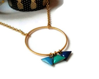 Necklace with shades of blue triangles and gold ring