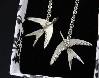 Swallows - Sterling Silver 3D Earrings, Flying birds