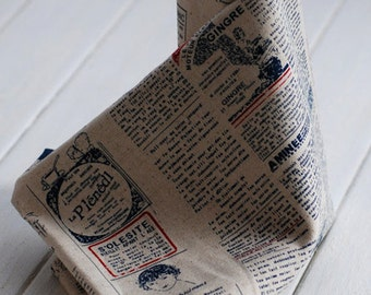 Vintage Newspaper Fabric Linen Fabric Vintage Looking Linen Cotton Fabric Antique Fabric - 1/2 Yard