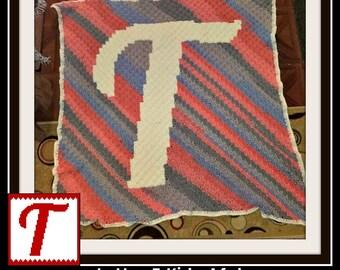 Letter T Kids Afghan, C2C Graph, Crochet Pattern