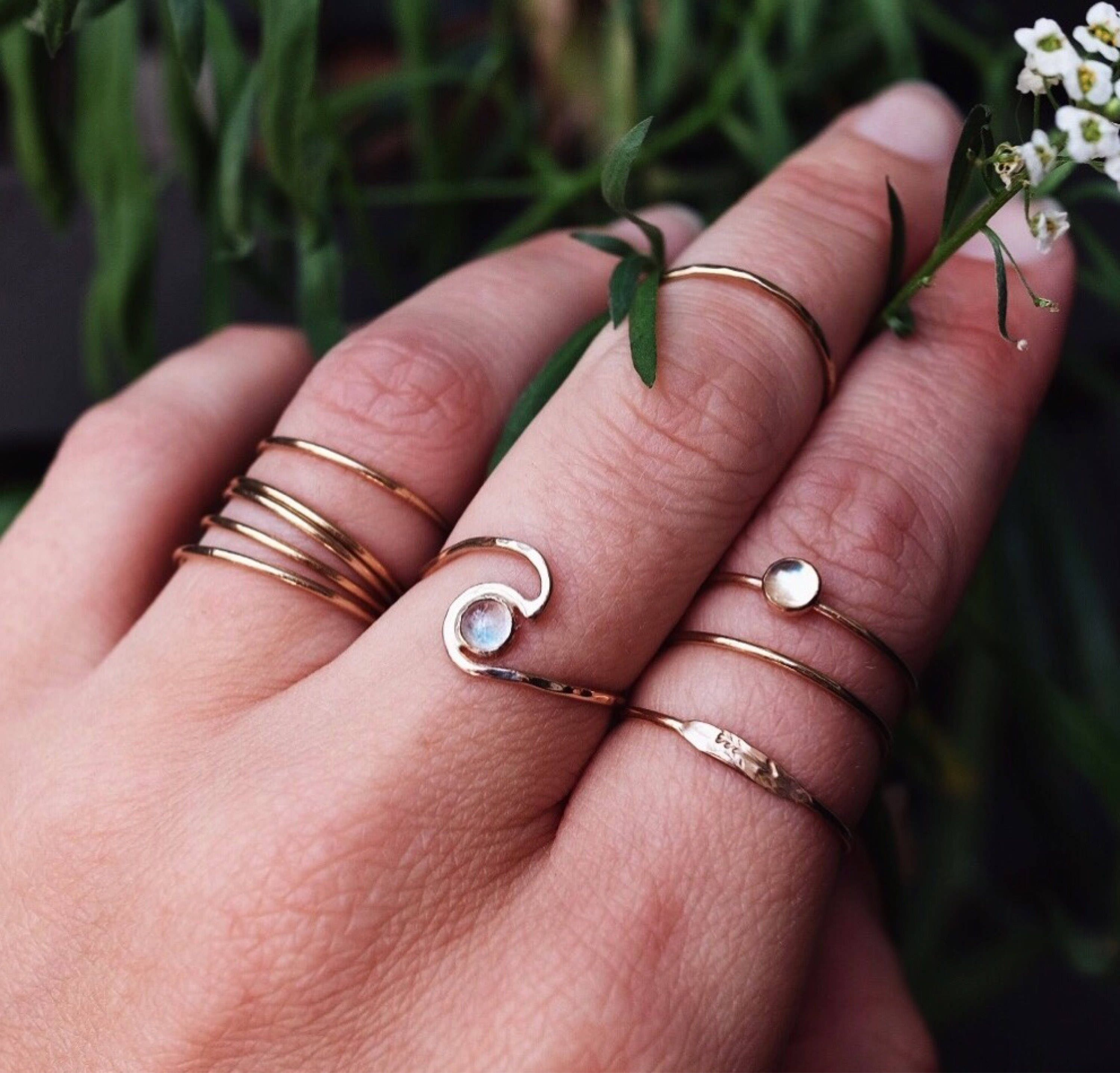 Bold Statement Gold Wave Ring with Rainbow Moonstone