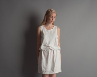 creation factory white cotton tank dress / mini dress / s / 1084d