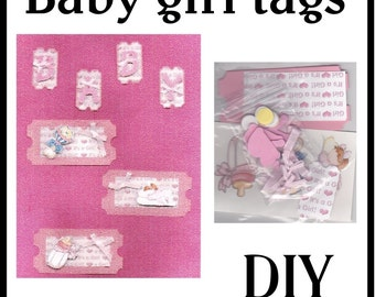 CLEARANCE SALE * Scrapbook Page Baby girl Scrapbook Paper Layout kit Scrapbooking  Embellishment 3d Baby tags ticket Scrapbook Paper Piecing