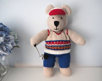 Knitted Golfer - Golfer Bear - Golfing Teddy Bear - Golf Gift -  Golfing Present - Hand Knit Bear - Golfing Doll (Made to Order)