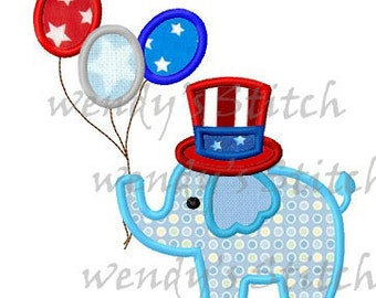 July 4th elephant applique machine embroidery design instant download