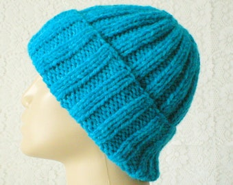 Blue watch cap, aqua turquoise blue hat, brimmed beanie hat, blue beanie hat, winter hat, toque, mens womens knit hat, blue hat, chemo cap
