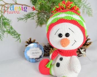 Crochet Pattern - Cute Snowman  Christmas Decoration (Amigurumi Toy Pattern)