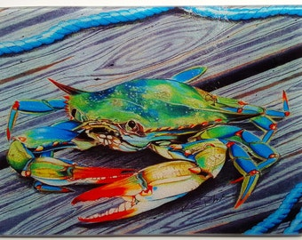 Mr. Jimmy Blue Crab on pier with rope glass Cutting Board serving tray nautical gift