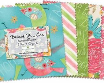 Believe You Can 5 Inch Squares Charm Pack, 42 Pieces, Katie Doucette, Wilmington Prints, Precut Fabric, Quilt Fabric, Cotton Fabric