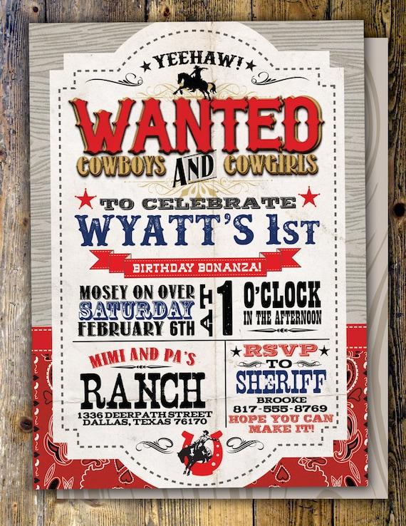 Vintage cowboy invitation boy birthday cowgirl rodeo vintage cowboy invitation boy birthday cowgirl rodeo western invitation wanted poster rodeo poster cowgirl horse digital file stopboris Gallery
